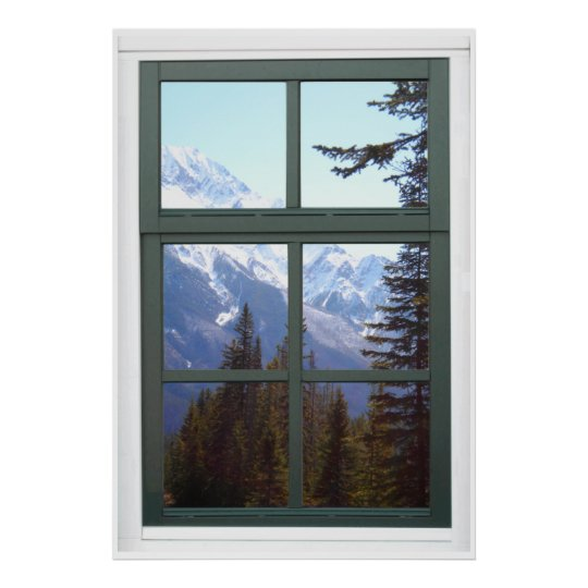 Canada Rocky Mountains Faux Window View Poster