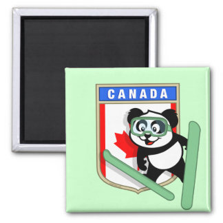 Canada Ski-jumping Panda Square Magnet