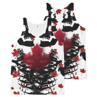 Canada skull Black & white red tank top All-Over Print Tank Top