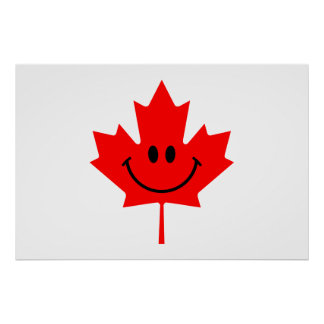Canada Smiley - A smiley face on red maple Posters