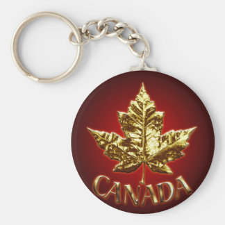Canada Souvenir Key Chain Gold Chrome Maple Leaf