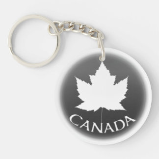 Canada Souvenir Key Chain White Maple Leaf
