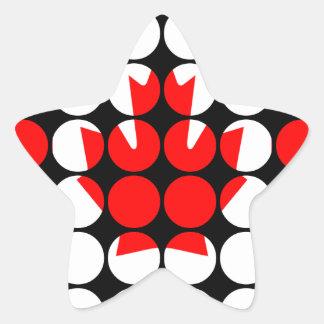 Canada Stylish Girly Chic  Polka Dot Canadian Flag Star Sticker