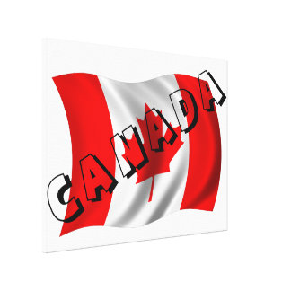 CANADA Text on Canadian Flag Canvas Prints