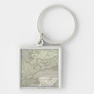 Canada West Silver-Colored Square Key Ring