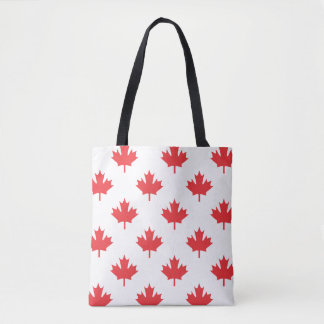 Canada White With Red Maple Leaf Tote Bag