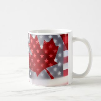 Canada with America flags Coffee Mug