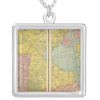 Canada with railroads silver plated necklace