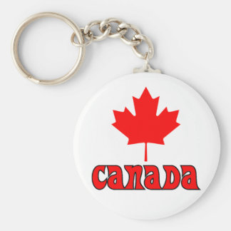 CANADA with red Maple Leaf Basic Round Button Key Ring