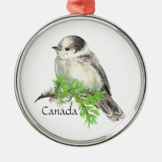 Canada's National Bird Gray Grey Jay, Whiskey Jack Silver-Colored Round Decoration