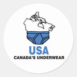 Canada's Underwear Round Sticker
