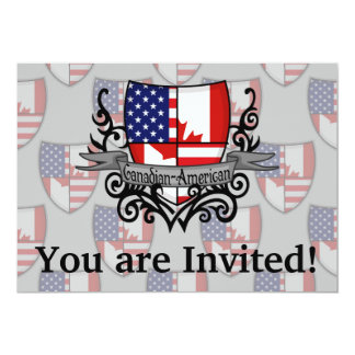 Canadian-American Shield Flag 5x7 Paper Invitation Card