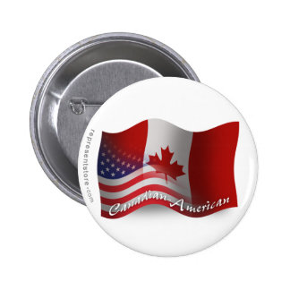 Canadian-American Waving Flag 6 Cm Round Badge