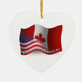 Canadian-American Waving Flag Christmas Ornament