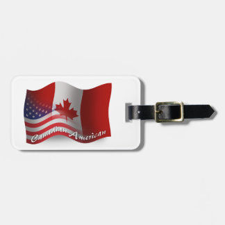 Canadian-American Waving Flag Luggage Tag
