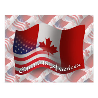 Canadian-American Waving Flag Postcard