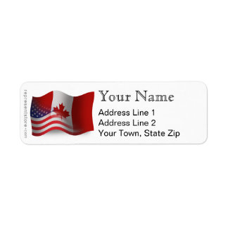 Canadian-American Waving Flag Return Address Label