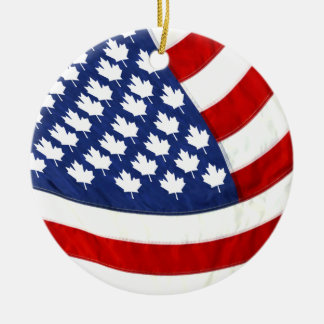 Canadian / American Waving Flag Round Ceramic Decoration
