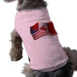 Canadian-American Waving Flag Sleeveless Dog Shirt