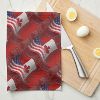 Canadian-American Waving Flag Tea Towel