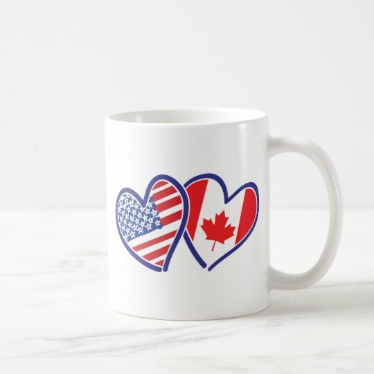 Canadian and America Flag Hearts Coffee Mug