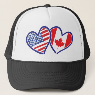 Canadian and America Flag Hearts Trucker Hat