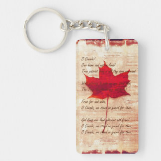 Canadian anthem on grunge background with red mapl key ring