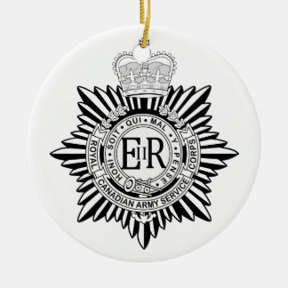 Canadian Army Service Corp Badge Black & White Christmas Ornament
