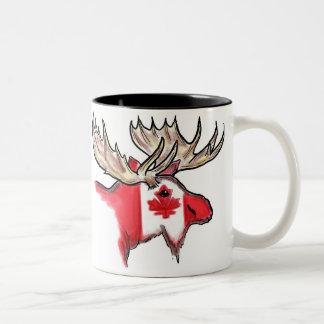 Canadian artistic elk local flag coffee mug