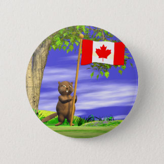 Canadian Beaver and Flag 6 Cm Round Badge