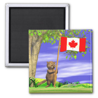 Canadian Beaver and Flag Magnet