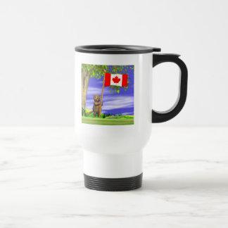 Canadian Beaver and Flag Stainless Steel Travel Mug