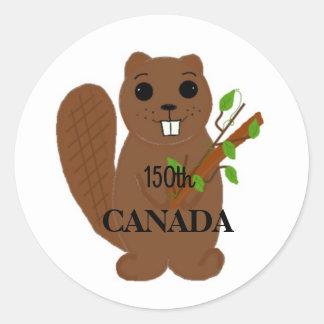 Canadian Beaver Celebrate Canada Classic Round Sticker