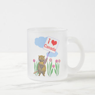 Canadian Beaver Loves Canada Frosted Glass Coffee Mug