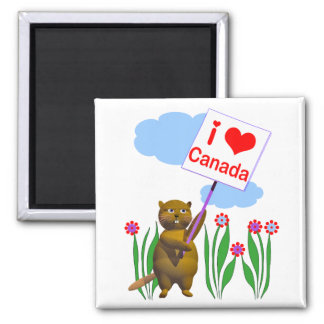 Canadian Beaver Loves Canada Magnet