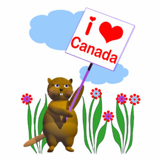 Canadian Beaver Loves Canada Standing Photo Sculpture