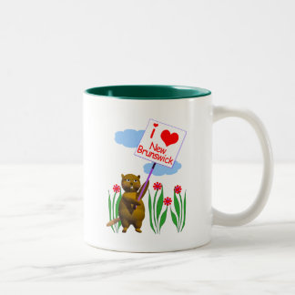 Canadian Beaver Loves New Brunswick Two-Tone Coffee Mug