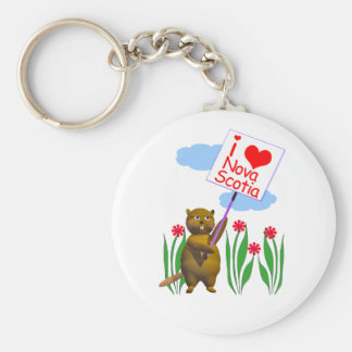 Canadian Beaver Loves Nova Scotia Basic Round Button Key Ring