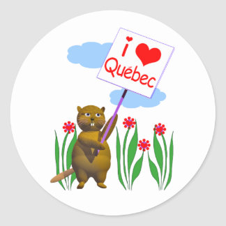 Canadian Beaver Loves Quebec Classic Round Sticker