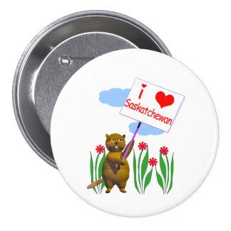 Canadian Beaver Loves Saskatchewan 7.5 Cm Round Badge