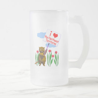 Canadian Beaver Loves the Northwest Territories Frosted Glass Mug