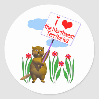 Canadian Beaver Loves the Northwest Territories Round Sticker