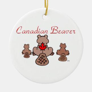Canadian Beaver Round Ceramic Decoration