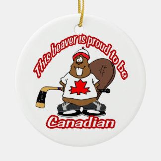 Canadian Beaver Tree Ornament circle
