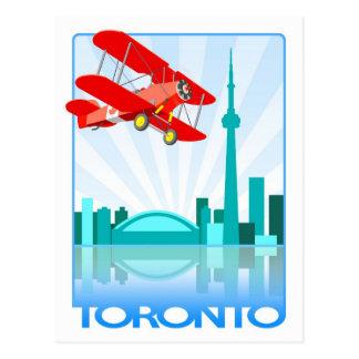 Canadian Biplane Over Toronto Retro Design Postcard