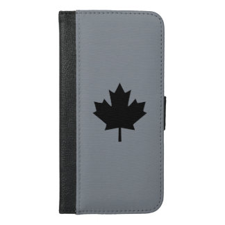 Canadian Black Maple Leaf Decor iPhone 6/6s Plus Wallet Case