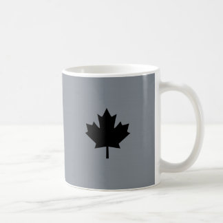 Canadian Black Maple Leaf on Grey Coffee Mug