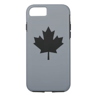 Canadian Black Maple Leaf on Grey iPhone 7 Case