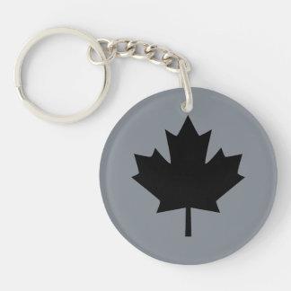 Canadian Black Maple Leaf Symbol Key Ring
