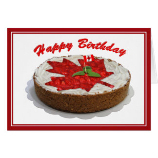 Canadian Cherry Maple Leaf Birthday Cake Card